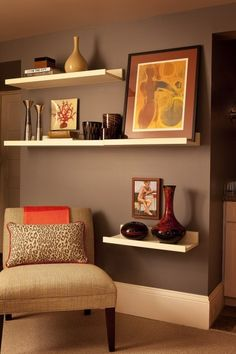 Have a blank wall? Add staggered floating book shelves for a customized look and added-value.