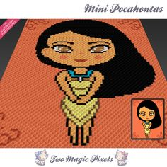 Mini Pocahontas crochet blanket pattern; c2c, knitting, cross stitch graph; pdf download; no written counts or row-by-row instructions by TwoMagicPixels, $3.79 USD