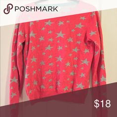 Pink Sweater Pink and grey starry sweater! Like new condition, only worn twice and washed once! Mossimo Supply Co Sweaters Crew & Scoop Necks