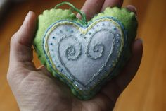 Heart Ornaments (Set of 6). Handmade Felt Ornament. Embroidered Ornament. Christmas Ornament.. $38.00, via Etsy.