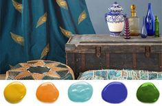 Family Room!  teal and amber home decor color palettes - Google Search