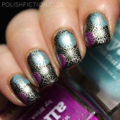 Reverse stamping with piCture pOlish Darcy, Cyan and Allure