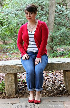 Striped Tee, Jeans, Red Cardigan, Red Flats, Casual Outfit, Jean Looks, Weekend Style, Fashion over 40