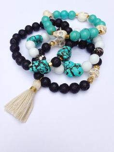 This turquoise and gold bracelet is a perfect pop of color! Stack with another Fancy Freebirds bracelet for a trendy look. Made of 10mm turquoise