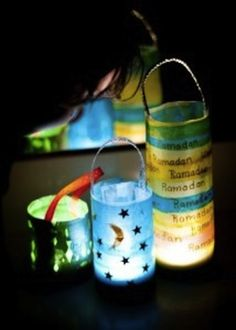 Make lanterns from cleaned plastic bottles, glue on sheets of tissue paper outside & place an electric tealight in the bottom.