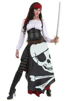 rustic pirate lady women's elite plus costume | plus size costumes