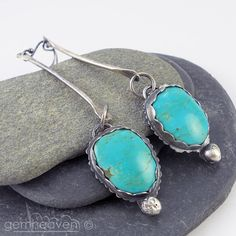 Sterling silver long earrings with Turquoise  Button by gemheaven, £48.00