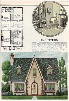 William A. Radford - American Builder - The Hepburn - English Cottage Style - Vintage House Plans - American Residential Architecture Sims House Plans, House Plans One Story, Small House Plans, House Floor Plans, English Cottage Style, Cottage Style House Plans, Cottage Style Homes, English Cottages, French Country
