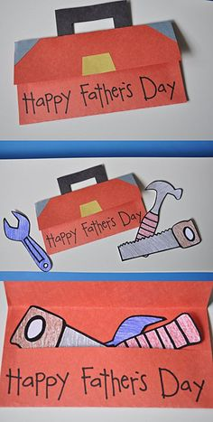 "This is a creative idea for having your students designing cards to give their Dads for Father's Day.   Have your students create ""tool box"" shaped cards that open to reveal a pocket area.  Inside the pocket part of the card, students can include tools that describe why they think that their father is special."