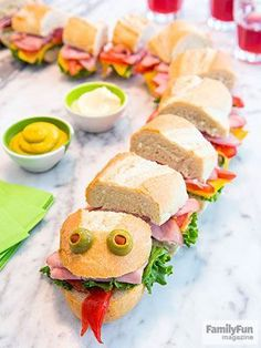 Sea Monster Sub: Feed a crowd with this supersize sandwich that kids can help pr. - kids snacks Sea Monster Sub: Feed a crowd with this supersize sandwich that kids can help pr… Food Art For Kids, Cooking With Kids, Children Cooking, Baby Food Recipes, Cooking Recipes, Sandwich Recipes, Party Recipes, Dinner Recipes, Sandwich Fillings