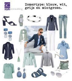 """""""Zomertype. Kleurenanalyse. Blauw, wit grijs en mintgroen."""" By Margriet Roorda-Faber."""