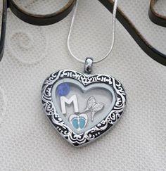 Baby Memorial Locket, Angel Wing Locket, Heart Locket, Letter Birthstone, Personalized, Baby Memorial Gift, With Me Always, Baby Feet Locket
