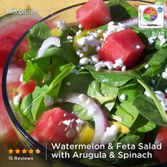 Watermelon and Feta Salad with Arugula and Spinach- lovely summer salad Real Food Recipes, Vegetarian Recipes, Healthy Recipes, I Love Food, Good Food, Healthy Cooking, Healthy Eating, Watermelon And Feta, Feta Salad