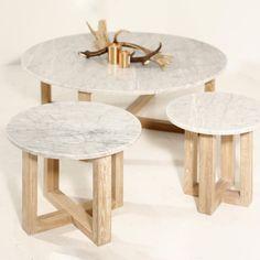 Round Oak & Marble Kara Side Table