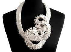 Israeli designer Lital Mendel has a knack for sculptural jewelry, especially pieces made from paper. Her recent project called Just One More. Paper Jewelry, Jewelry Art, Jewelry Design, Designer Jewelry, Gold Jewellery, Silver Jewelry, Handmade Silver, Handmade Jewelry, Recycled Jewelry