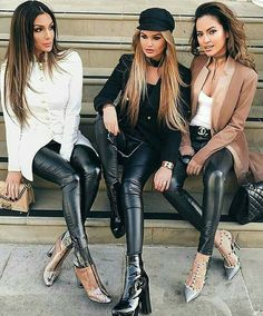 Lederlady ❤ Leather Pants Outfit, Black Leather Leggings, Black Leather Dresses, Leather Jeans, Shiny Leggings, Leggings Are Not Pants, Hot Outfits, Outfits For Teens, Girl Fashion