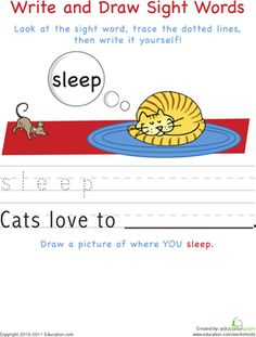 Kindergarten Building Words Sight Words Worksheets: Write and Draw Sight Words: Sleep