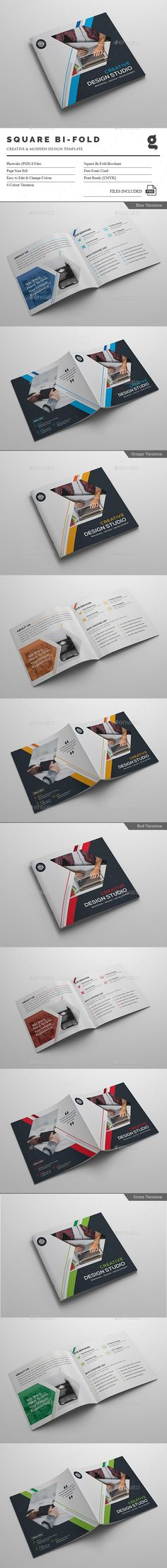 Corporate Square Bi-Fold - Corporate Brochure Template PSD. Download here: http://graphicriver.net/item/corporate-square-bifold/16428896?ref=yinkira