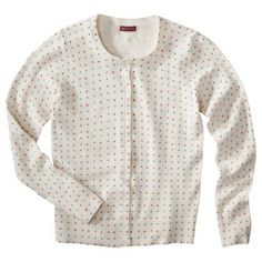 $22.99 (Mandarin/white with polka dots; size Small) Merona® Petites Long-Sleeve Crew-Neck Cardigan Sweater - Assorted Prints