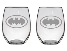 Batman Etched Glass  Permanently etched with aluminum oxide which leaves a superior finish  Can be etched into the following variety of glasses:  -Stemless wine Glass (21oz)  -Wine Glass (21oz)  -Beer Mug (25oz)  -Pilsner Glass (19oz)  -Mason Jar (16oz)  -Champagne Flute (6.25 oz)   Choose glass type and quantity in the drop down menu when placing your order. Glasses are sold individually or in sets of two or four  Dishwasher safe!  To check out more of our etched glasses click here…