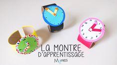 """""""Quelle heure est-il ?"""", """"C'est dans combien de temps qu'on arrive ?"""" ,""""Là ça fait deux heures, là ?"""" Vers 3-4 ans les enfants se questionnent énormément sur le temps qui passe, les heures et les minutes. Alors avant de passer à la vraie montre, Momes vous propose cette montre d'apprentissage. Amusante à réaliser et motivante, elle est idéale pour apprendre aux enfants à lire l'heure sur une montre. Diy For Kids, Crafts For Kids, Montessori, About Me Blog, Education, Christmas Ornaments, Mystery, Animation, Diy Crafts"""