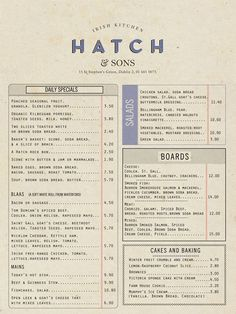 Revert Design. Hatch & Sons Irish Kitchen menu. revertdesign.net