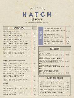 Revert Design. Hatch & Sons Irish Kitchen menu. revertdesign.net