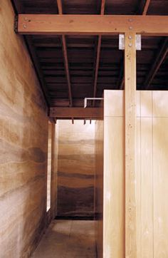 Interior: Rammed Earth walls: good insulation saves money on heating and cooling also can gives the walls a interesting and unquie look Rammed Earth Homes, Rammed Earth Wall, Super Adobe, Sustainable Architecture, Residential Architecture, Contemporary Architecture, Earthy Home, Recycled House, Eco Buildings