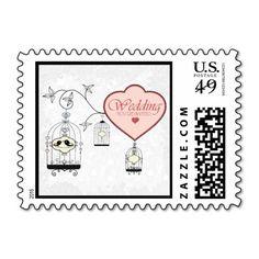 Bird Cage Wedding Invitation Postage Stamp