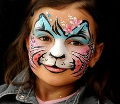 Pretty face painting ideas for kids Girl Face Painting, Face Painting Designs, Painting For Kids, Paint Designs, Body Painting, Animal Face Paintings, Animal Faces, Kids Makeup, Scary Makeup