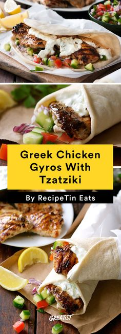 Greek Chicken Gyros With Tzatziki and other healthy chicken recipes Diet Recipes, Cooking Recipes, Healthy Recipes, Zoodle Recipes, Recipies, Healthy Food, Healthy Breakfasts, Eating Healthy, Tzatziki