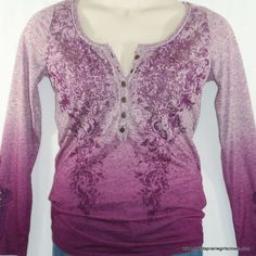 Maurices Premium Plus Size 0 0X Knit Top Henley Purple Heather Ombre NEW NWT #Maurices #KnitTop #Casual