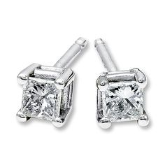Diamond Earrings 1/5 ct tw Princess-cut  14K White Gold