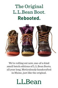 After 105 years perfecting the original, we're rolling out one-of-a-kind small batch editions of the L.L.Bean Boot. Meticulously handcrafted in Maine. Just like the original. Discover our limited edition small batch boots today.