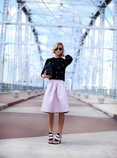 shirt + sweater + heels