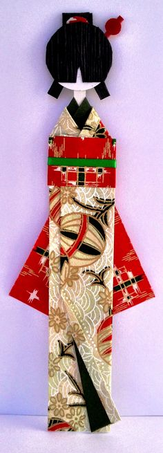 Fuyo no hoshi (Winter Star) Japanese Washi Paper Bookmark Doll with Hair comb and pin.
