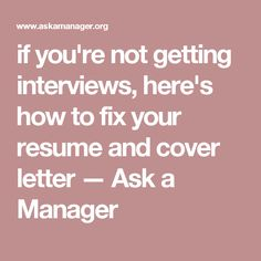 Most resumes and cover letters I see suck -- and if you're not getting job interviews, that's probably why! Here's how to fix your resume and cover letter. Interview Answers, Interview Skills, Job Interview Questions, Job Interview Tips, Job Interviews, Manager Resume, Job Resume, Resume Tips, Resume Help