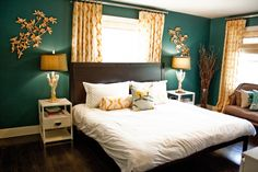 We Love The Luxurious Feel This Dark Blue Green Creates On These Accent Walls