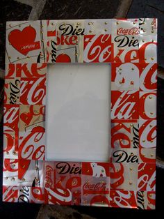 Coca-Cola, Diet Coke Handcrafted tile Mosaic Picture Frame w/ Recycled Aluminum Coke Cans Upcycled Crafts, Handmade Crafts, Diy And Crafts, Coca Cola, Pepsi, Coke Can Crafts, Aluminum Can Crafts, Aluminum Cans, Soda Can Art