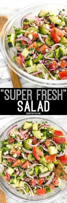 Super Fresh Cucumber Salad Super Fresh Salad is a cold, crunchy, juicy mix of flavorful vegetables topped with a simple red wine and oregano vinaigrette. Cooked Vegetable Recipes, Vegetable Korma Recipe, Spiral Vegetable Recipes, Vegetable Casserole, Vegetable Samosa, Vegetarian Recipes, Cooking Recipes, Healthy Recipes, Vegetable Salad
