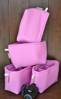 Camera Bag insert in water resistant Bright Pink by DarbyMack