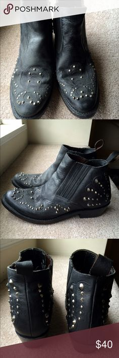 Women's Ash studded biker boots size 10 Really awesome Ash leather western studded boots. I've only worn them a few times. Good condition besides some scratches on the soles. They don't really fit my feet so sadly I must let them go. Ash Shoes Ankle Boots & Booties