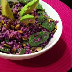 "Quick dinner purple quinoa... ""something I accidentally found delicious and very pretty while throwing leftovers in my lunch box one day.."" #purplecabbage #spinach #avocado #pumpkinseed and homemade creamy #tahini dressing .. no link with recipie, just inspiration!"