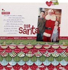 Bella Blvd Make It Merry and Christmas Cheer collections. Our Santa layout by creative team member Lisa Dickinson. Christmas Scrapbook Layouts, Album Scrapbook, Scrapbook Sketches, Scrapbook Page Layouts, Baby Scrapbook, Scrapbook Paper Crafts, Christmas Layout, Scrapbooking Ideas, Twelve Days Of Christmas
