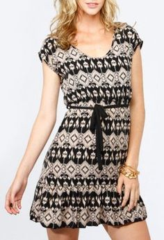 Tribal Print Flutter Dress