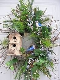 Image result for spring wreath with birdhouses
