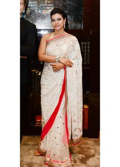 #Cream Colored Bollywood #Saree