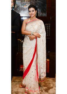 #Cream Colored Bollywood #Saree