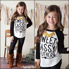 Ryleigh Rue Clothing by MVB - Girls Sweet Sassy Southern Baseball Tee Black, $22.00 (http://www.ryleighrueclothing.com/new/girls-sweet-sassy-southern-baseball-tee-black.html/)