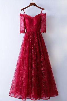Red Spaghetti Straps Prom Dress, Half Sleeves Long Prom Dress,Elegant Lace Prom Dress